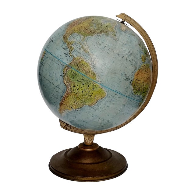 Vintage World Book Globe by Replogle on Stand - Image 1 of 10