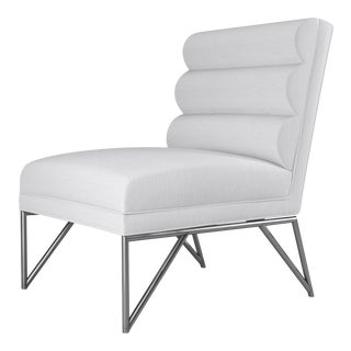 Paulo Slipper Chair - Polished Steel - Optic White Linen For Sale