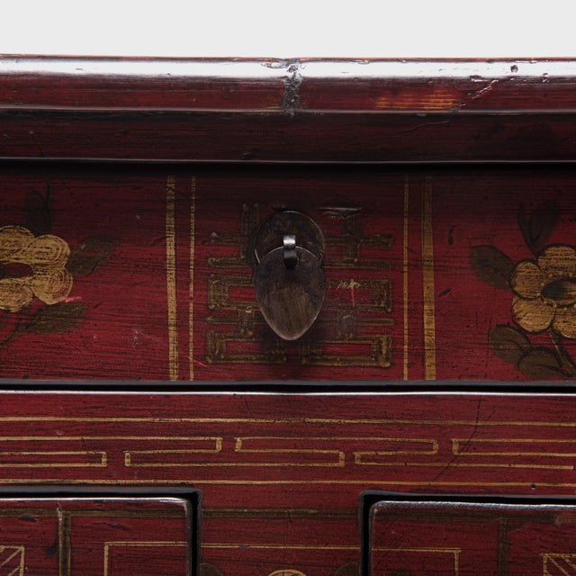 Mongolian Floral Painted Storage Chest For Sale - Image 9 of 10