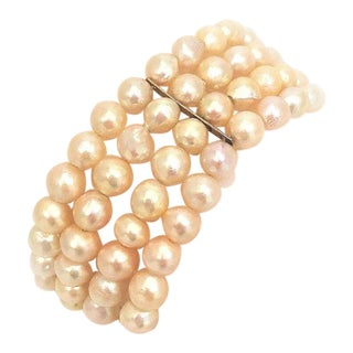 Vintage Ming's Pearl and 14 Karat Gold Bracelet For Sale