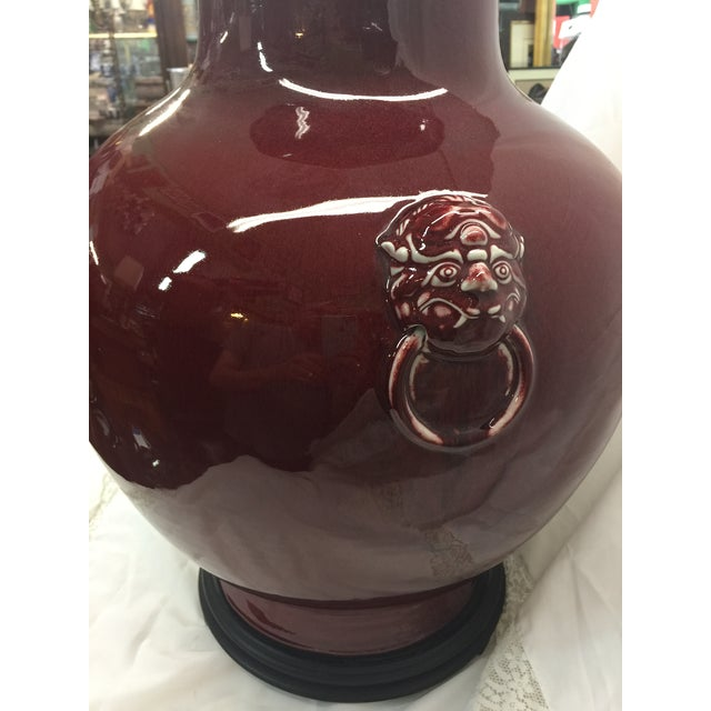 "1950s Chinese Oxblood Vase 23"" For Sale - Image 5 of 8"