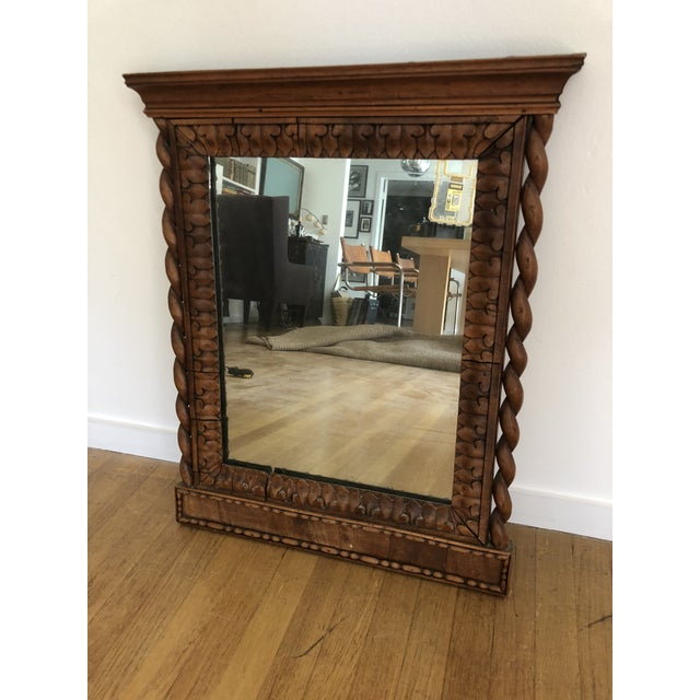 1800's Hand Carved Wood Frame Mirror For Sale - Image 4 of 4