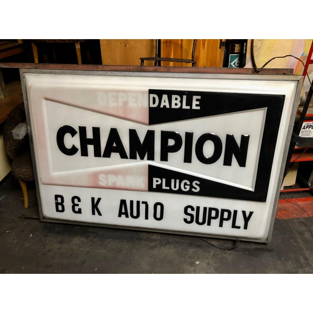Industrial Vintage Everbrite Industrial Metal-Framed Double-Sided Champion Auto Supply Service Sign For Sale - Image 3 of 10