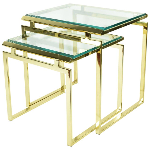 Pair of Brass & Glass Modernist Nesting Tables - Image 1 of 8
