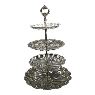 Vintage F B Rogers 4 Tiered Silver Plated Stand With Top Finial Handle For Sale