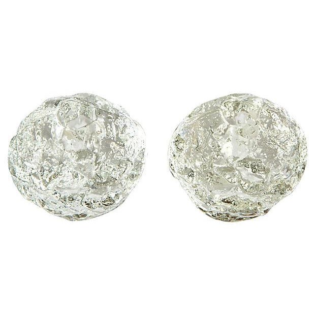 Glass Textured Ball Candle Holders - A Pair - Image 2 of 3
