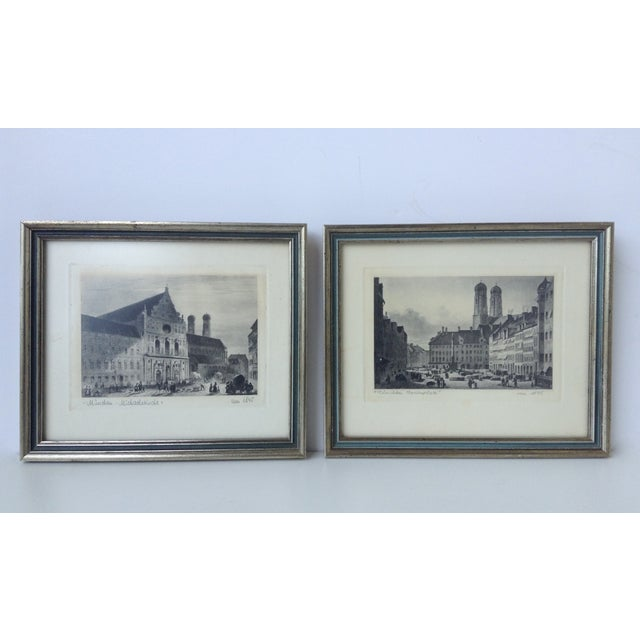 Circa 1845 pair of original German stone etchings. Signed and dated accordingly, with provenance, artists' signature, and...