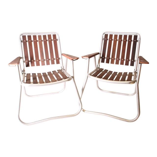 Mid Century Redwood Aluminum Folding Patio Chairs - A Pair For Sale