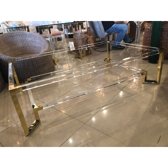 Vintage Hollywood Regency Geometric Brass and Lucite Two Tier Glass Cocktail Table For Sale In West Palm - Image 6 of 12