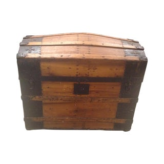 Vintage Iron Mounted Planked Wood Trunk For Sale
