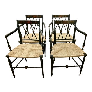 19th Century Regency Painted Caning Arm Chairs - Set of 4 For Sale