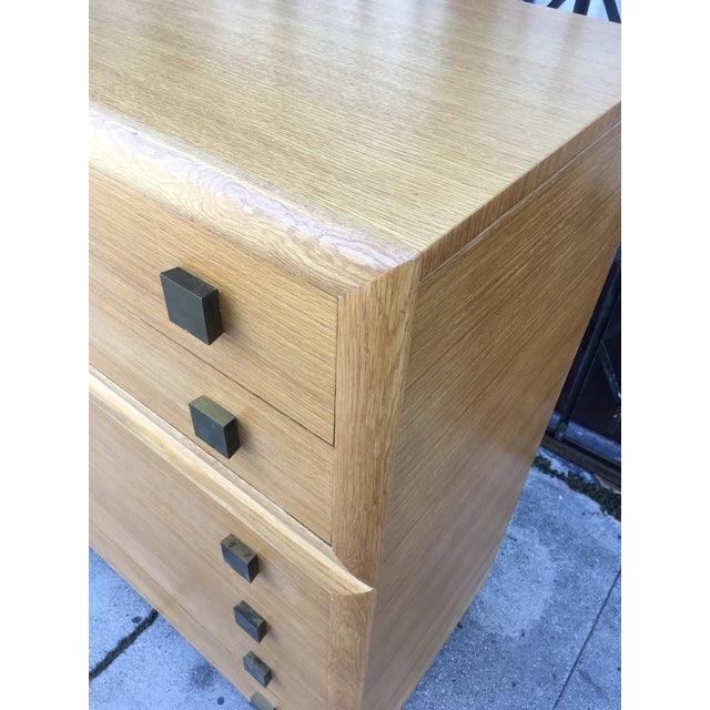 1940s Art Deco Oak Highboy Chest of Drawers For Sale In Los Angeles - Image 6 of 13