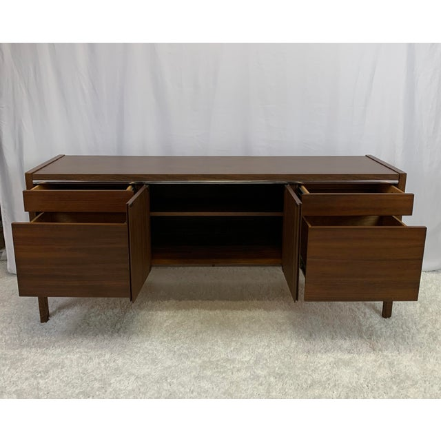Brown 1950s Kimball Mid-Century Modern Walnut and Chrome Credenza For Sale - Image 8 of 9