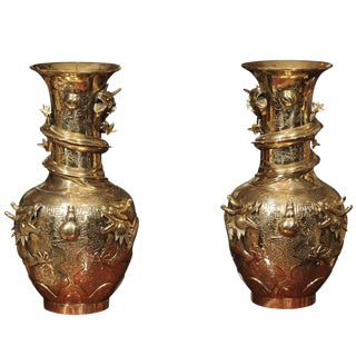 Qing Dynasty Bronze Vases - A Pair For Sale
