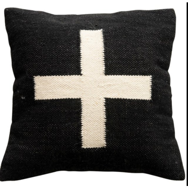 Mid-Century Modern Square Wool Blend Swiss Cross Black & Cream Pillow For Sale - Image 3 of 3