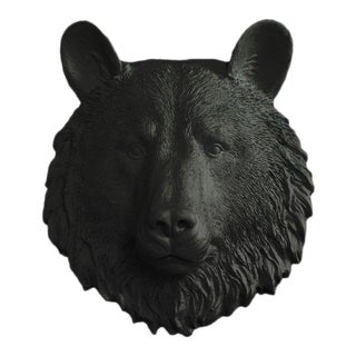 Wall Charmers Faux Black Mini Bear Head Wall Sculpture For Sale