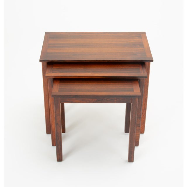 1960s Danish Modern Rosewood Nesting Tables - Set of 3 For Sale - Image 5 of 12