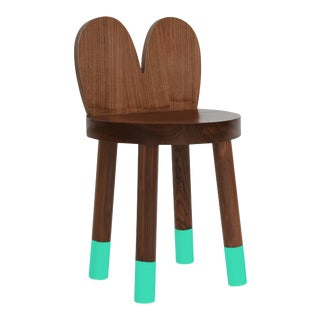 Lola Kids Chair in Walnut With Mint Finish For Sale