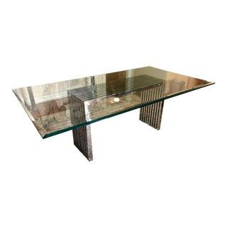 Modern Designer Dining Table W Chrome Reed Base For Sale