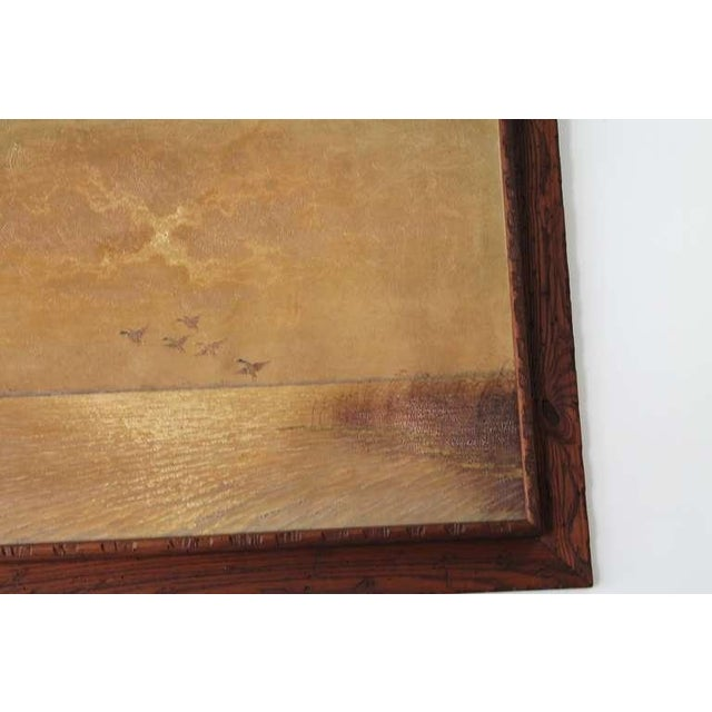 Ducks in Flight Original Wood Framed Oil Painting For Sale - Image 4 of 7