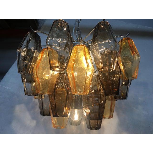 "Chrome Italian ""Poliedro"" Amber and Fume Chrome Metal Frame Murano Glass Chandelier For Sale - Image 8 of 11"
