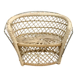 Vintage Rattan Loveseat Plant or Teddy Stand For Sale