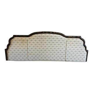 Chinoiserie Upholstered Wood Framed King Size Headboard For Sale