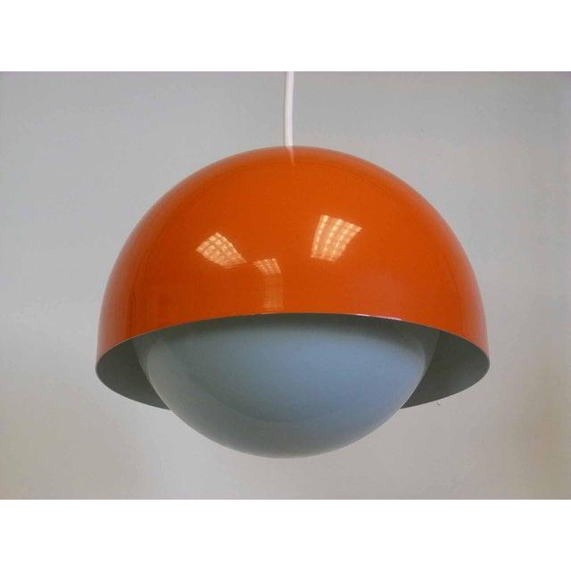 Orange Dome Mid-Century Pendant Lamp For Sale - Image 5 of 9