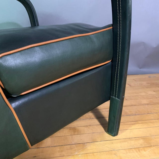 Animal Skin Pair Baxter Italia Green Leather Armchairs, 1990 For Sale - Image 7 of 11