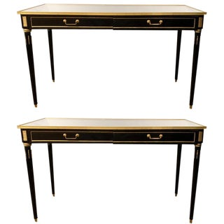 Ebony Maison Jansen Style Mirror Top Two-Drawer Consoles Table / Sideboards Pair For Sale