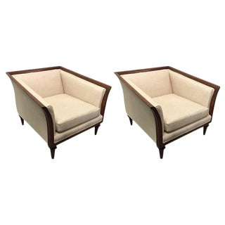 Pair of Sculptural Walnut Lounge Chairs For Sale