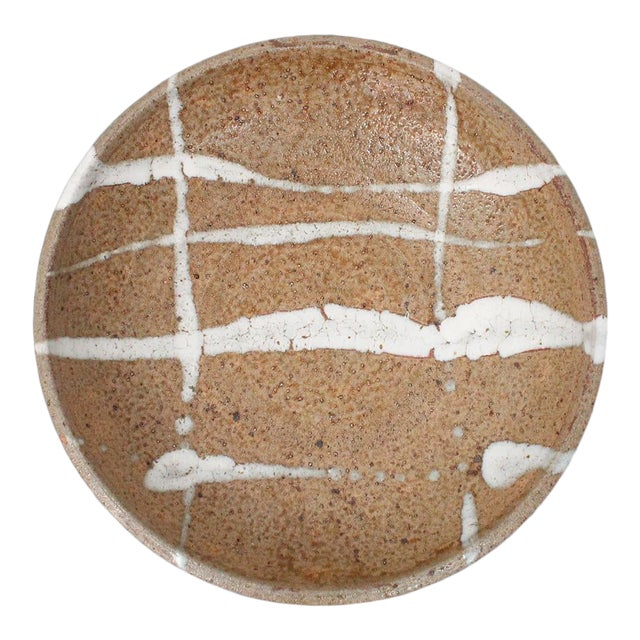 1960s Abstract Japanese Pottery Charger For Sale