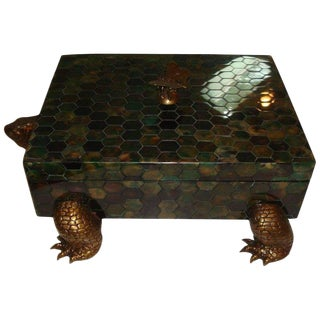 Maitland-Smith Penshell and Brass Turtle Box For Sale