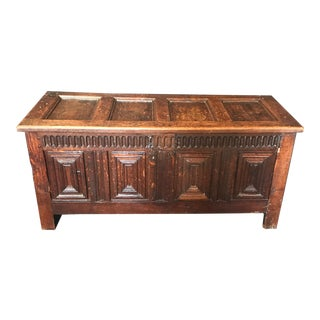 18th. Century Highly Carved Paneled French Coffer Chest For Sale