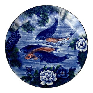 Vintage Hand Painted Asian Koi Fish Platter or Shallow Centerpiece Bowl For Sale