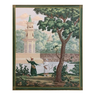 Vintage French Scenic on Canvas Panel For Sale