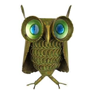 1968 C. Jeré Brass & Enamel Owl Figure For Sale