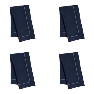 Navy Linen Dinner Napkins with Ivory Contrast Hemstitch - Set of 4 For Sale