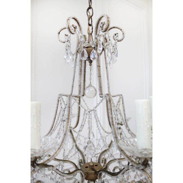 Antique French Beaded Arm Chandelier For Sale In Los Angeles - Image 6 of 9