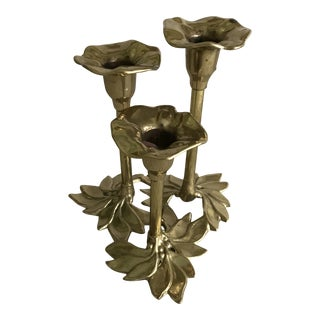 Italian Brass Floral Candle Holder For Sale