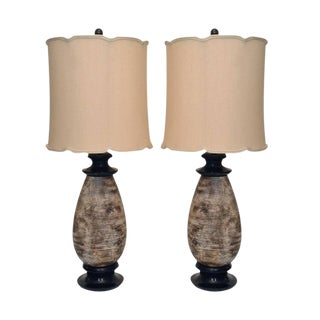 Pair of Ceramic Lamps by James Mont For Sale