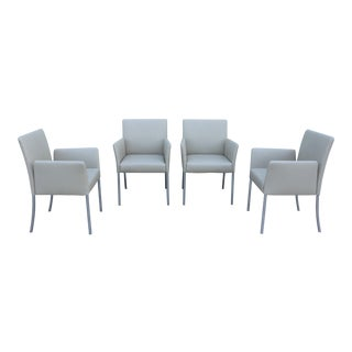 Coalesse by Steelcase Sand Leather Switch Lounge Arm Chairs -Set of 4 For Sale