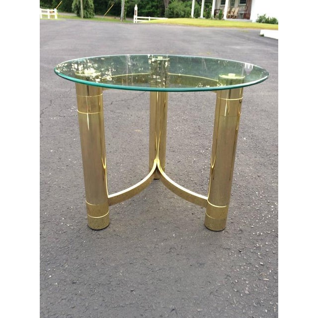SOLD-1980s Hollywood Regency Brass & Glass Side Table For Sale - Image 9 of 10