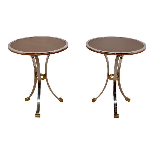 Mid-Century Mahogany and Chrome Side Tables - a Pair For Sale
