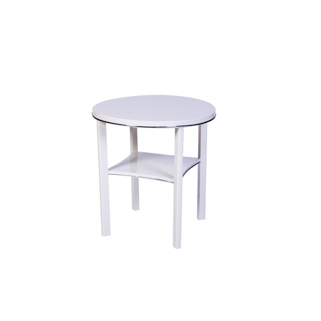 Chic Art Deco Side Table in White For Sale