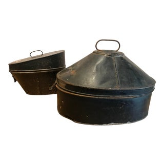 Vintage Tin Hat Boxes With One Hat - a Pair For Sale