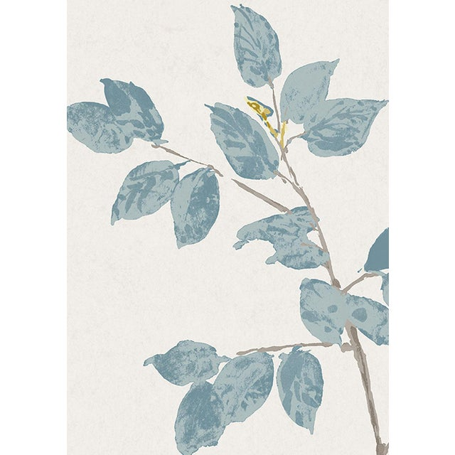 "English Lewis & Wood Beech Bluegrass Extra Wide 52"" Botanic Style Wallpaper - 1 Yard For Sale - Image 3 of 4"