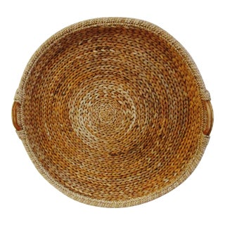 1990s Palecek Oversized Woven Reed Tray For Sale