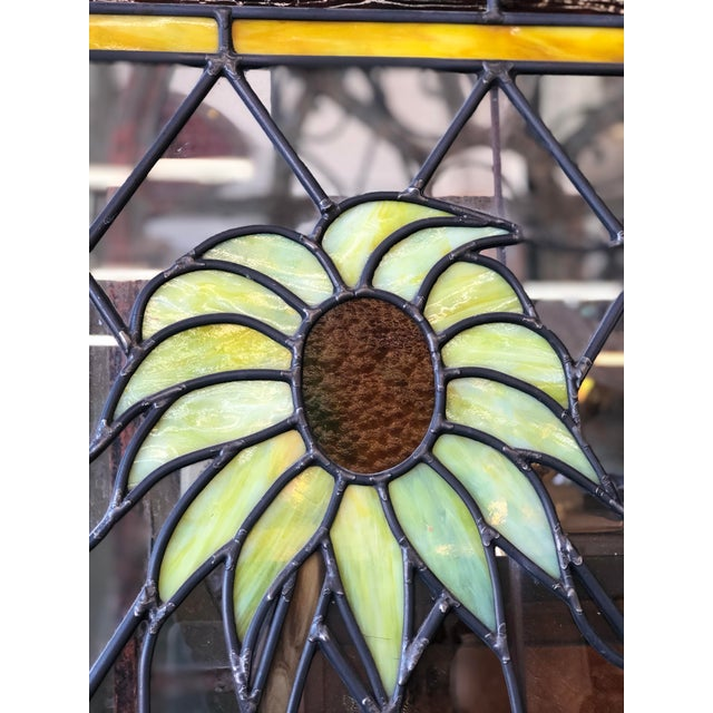 1920s Arts and Crafts Stained Leaded Glass Storybook Cottage Window For Sale - Image 9 of 13