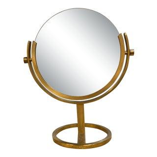 Vintage Karl Springer Brass Vanity Mirror For Sale